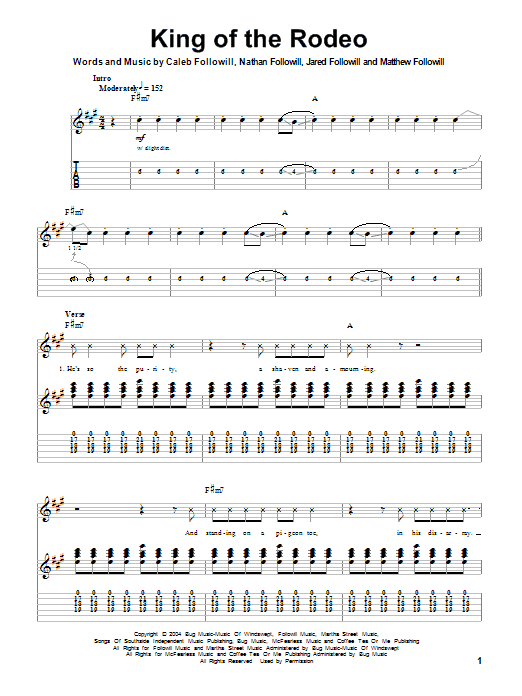 Tablature guitare King Of The Rodeo de Kings Of Leon - Tablature Guitare