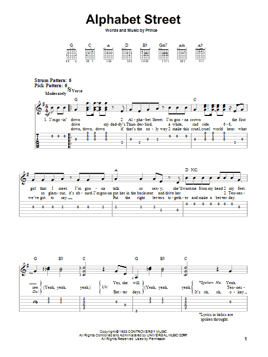 Tablature guitare Alphabet Street de Prince - Tablature guitare facile