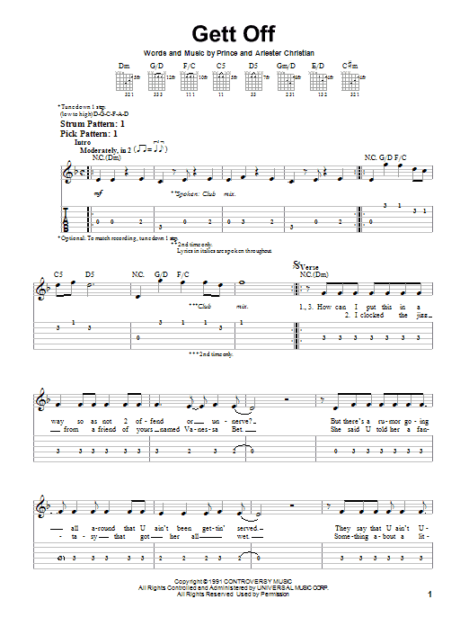 Tablature guitare Gett Off de Prince - Tablature guitare facile