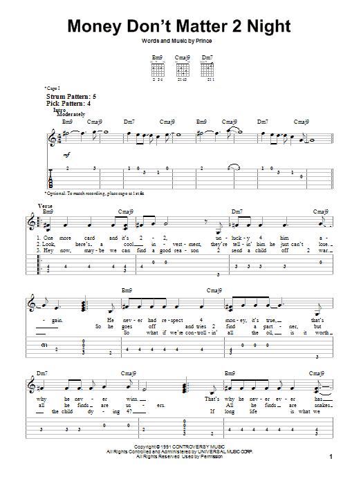 Tablature guitare Money Don't Matter 2 Night de Prince - Tablature guitare facile