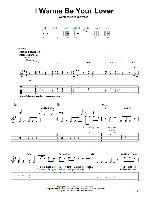 Tablature guitare I Wanna Be Your Lover de Prince - Tablature guitare facile
