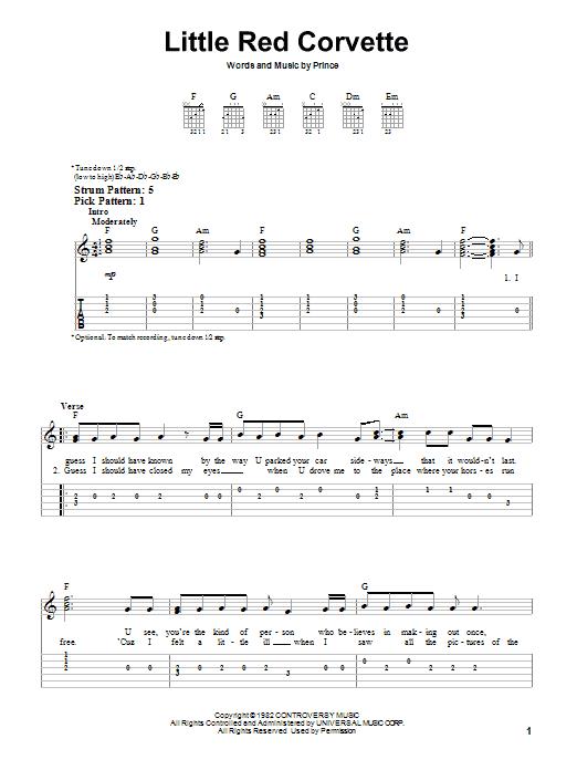 Tablature guitare Little Red Corvette de Prince - Tablature guitare facile