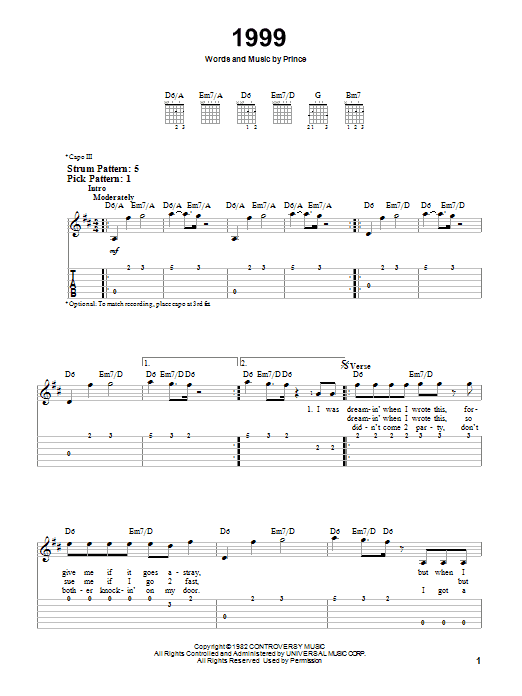 Tablature guitare 1999 de Prince - Tablature guitare facile