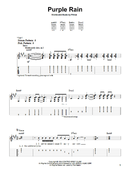Tablature guitare Purple Rain de Prince - Tablature guitare facile