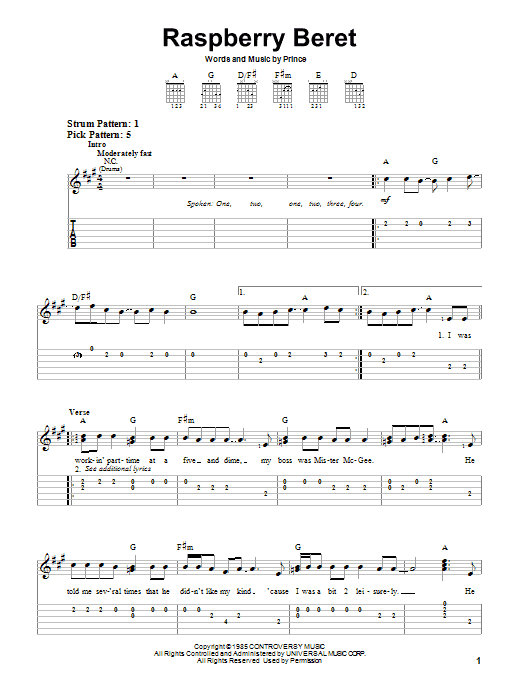 Tablature guitare Raspberry Beret de Prince - Tablature guitare facile