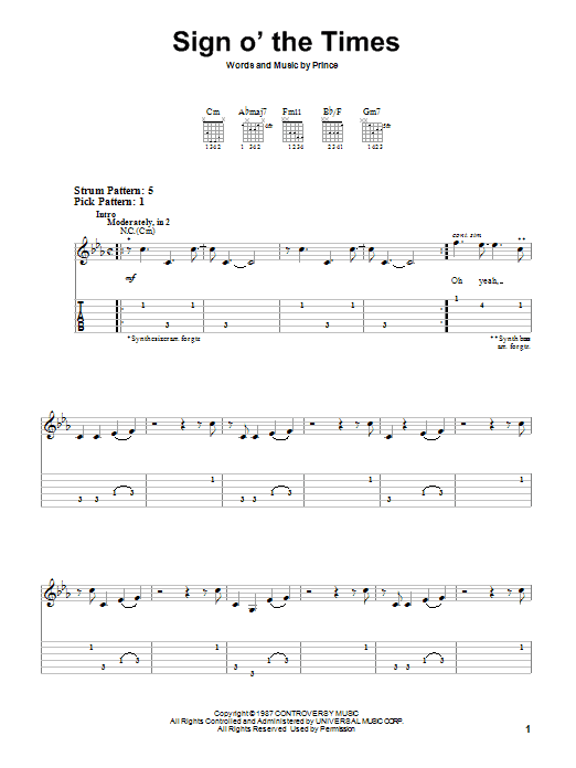 Tablature guitare Sign O' The Times de Prince - Tablature guitare facile