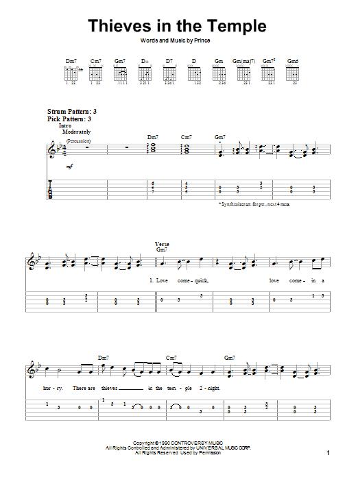 Tablature guitare Thieves In The Temple de Prince - Tablature guitare facile