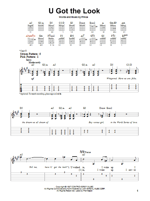 Tablature guitare U Got The Look de Prince - Tablature guitare facile