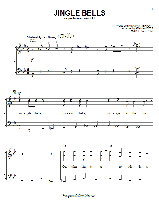 Partition piano Jingle Bells de Glee Cast - Piano Facile