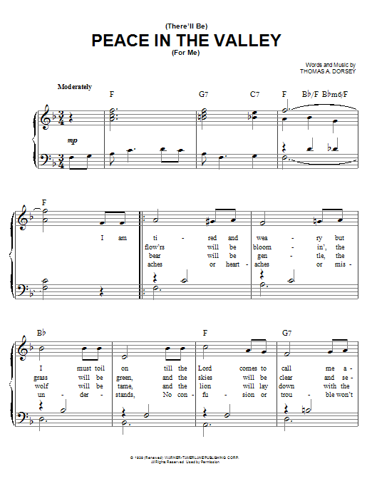 Partition piano There Will Be Peace In The Valley For Me de Elvis Presley - Piano Facile