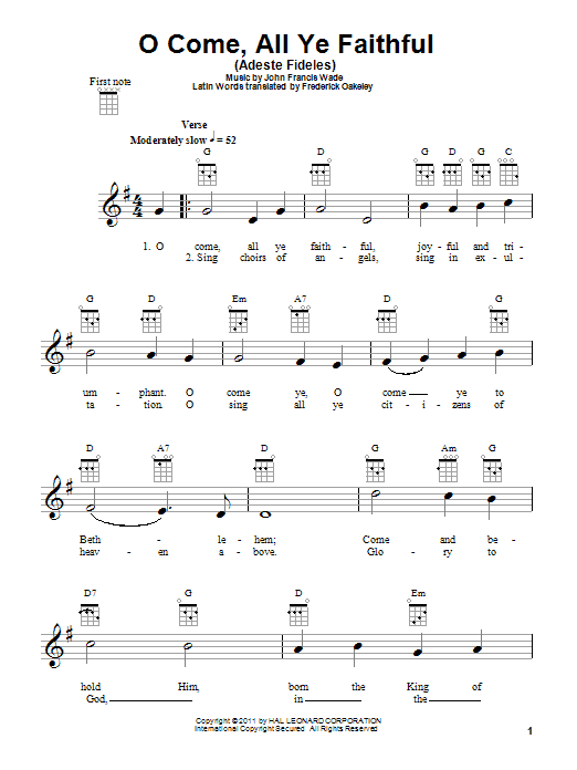 Tablature guitare O Come, All Ye Faithful (Adeste Fideles) de John Francis Wade - Ukulele