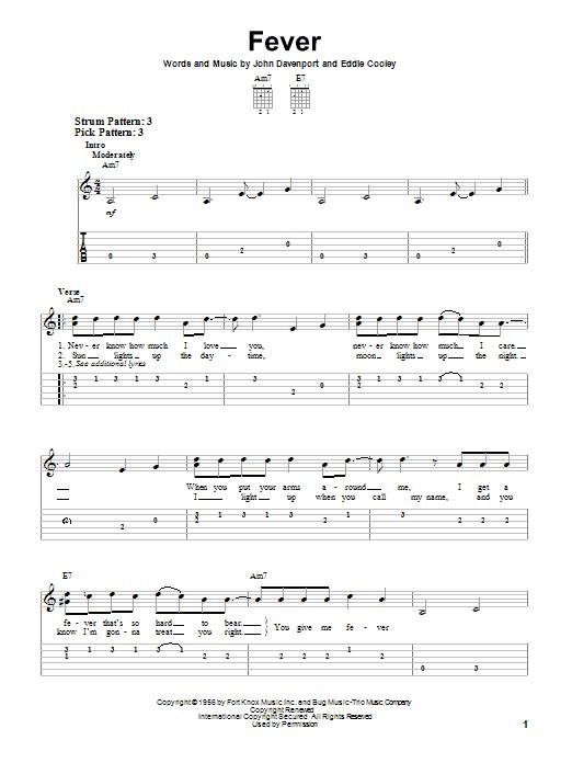 Tablature guitare Fever de Peggy Lee - Tablature guitare facile