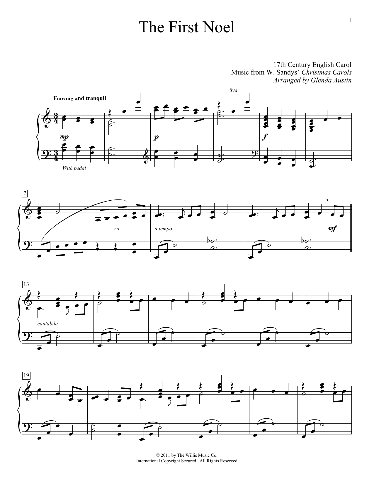 Partition piano The First Noel de 17th Century English Carol - Piano Solo