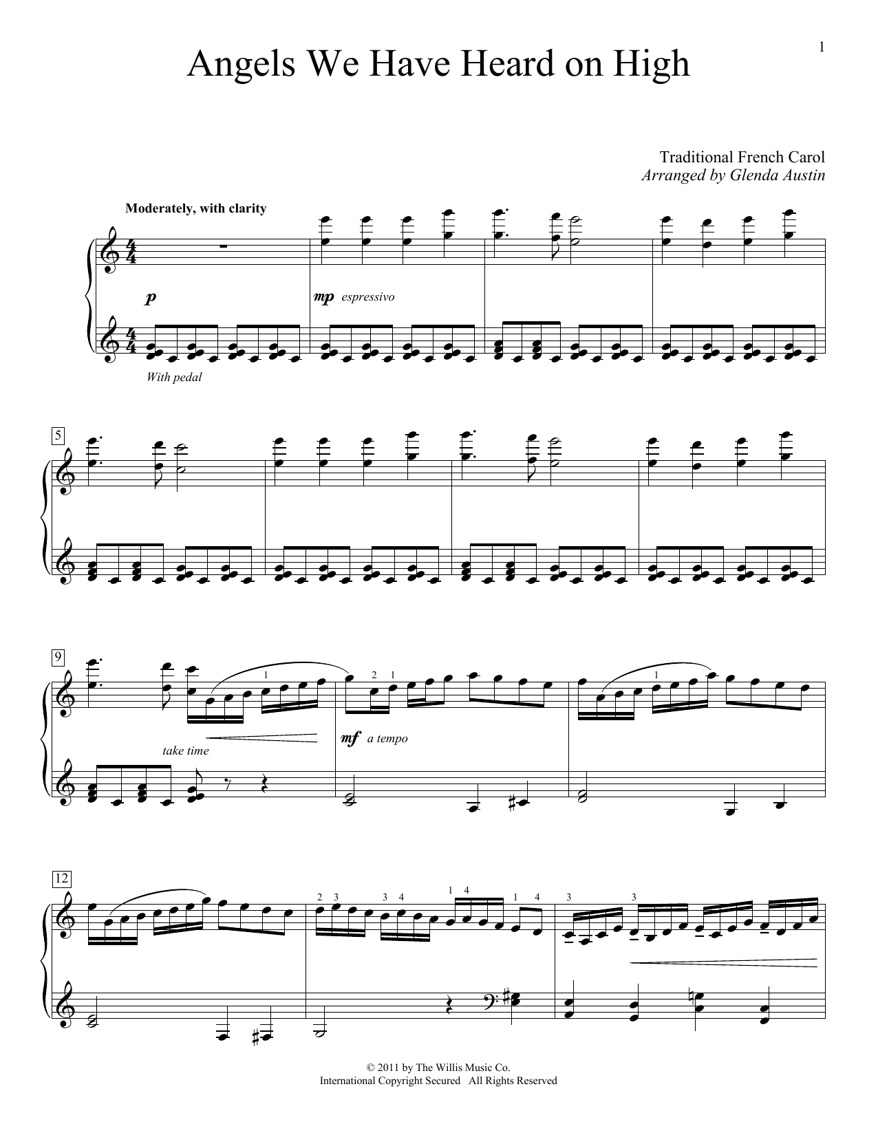 Partition piano Angels We Have Heard On High de Traditional French Carol - Piano Solo