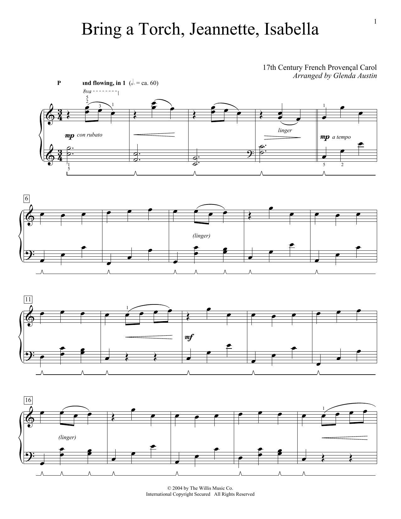Partition piano Bring A Torch, Jeannette Isabella de 17th Century French Carol - Piano Solo