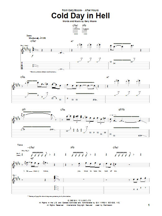 Tablature guitare Cold Day In Hell de Gary Moore - Tablature Guitare