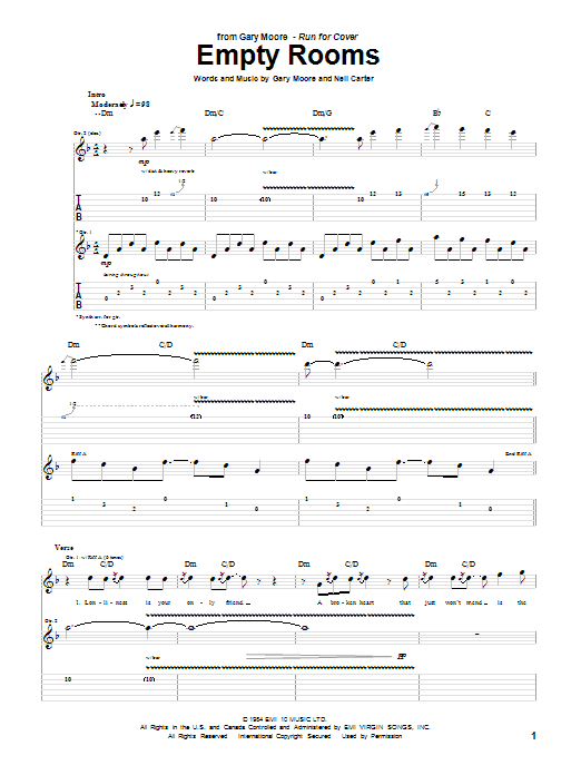 Tablature guitare Empty Rooms de Gary Moore - Tablature Guitare