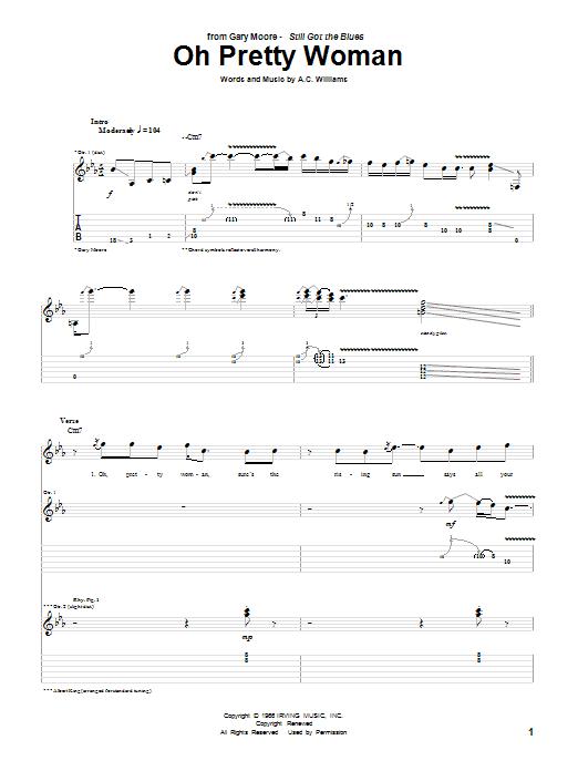 Tablature guitare Oh Pretty Woman de Gary Moore - Tablature Guitare