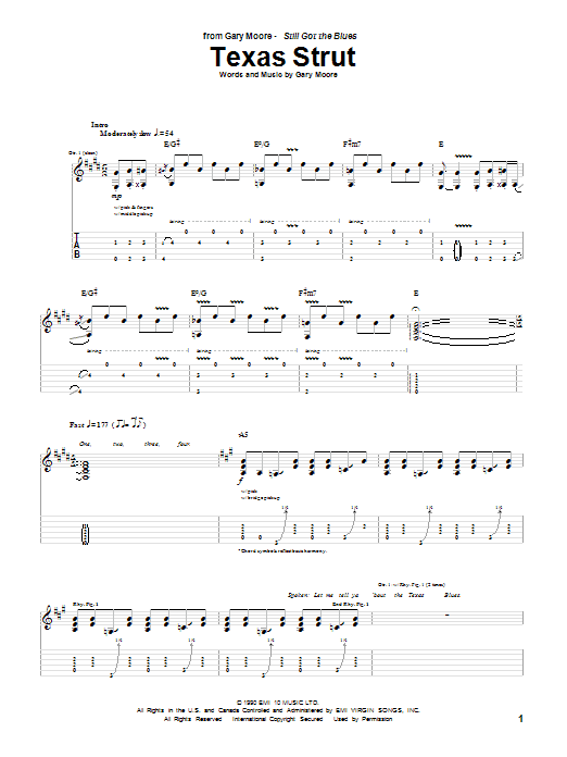 Tablature guitare Texas Strut de Gary Moore - Tablature Guitare