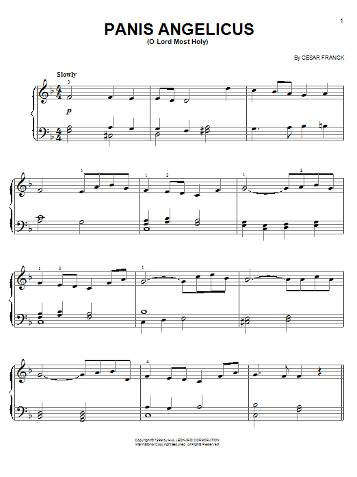 Partition piano Panis Angelicus (O Lord Most Holy) de Cesar Franck - Piano Facile