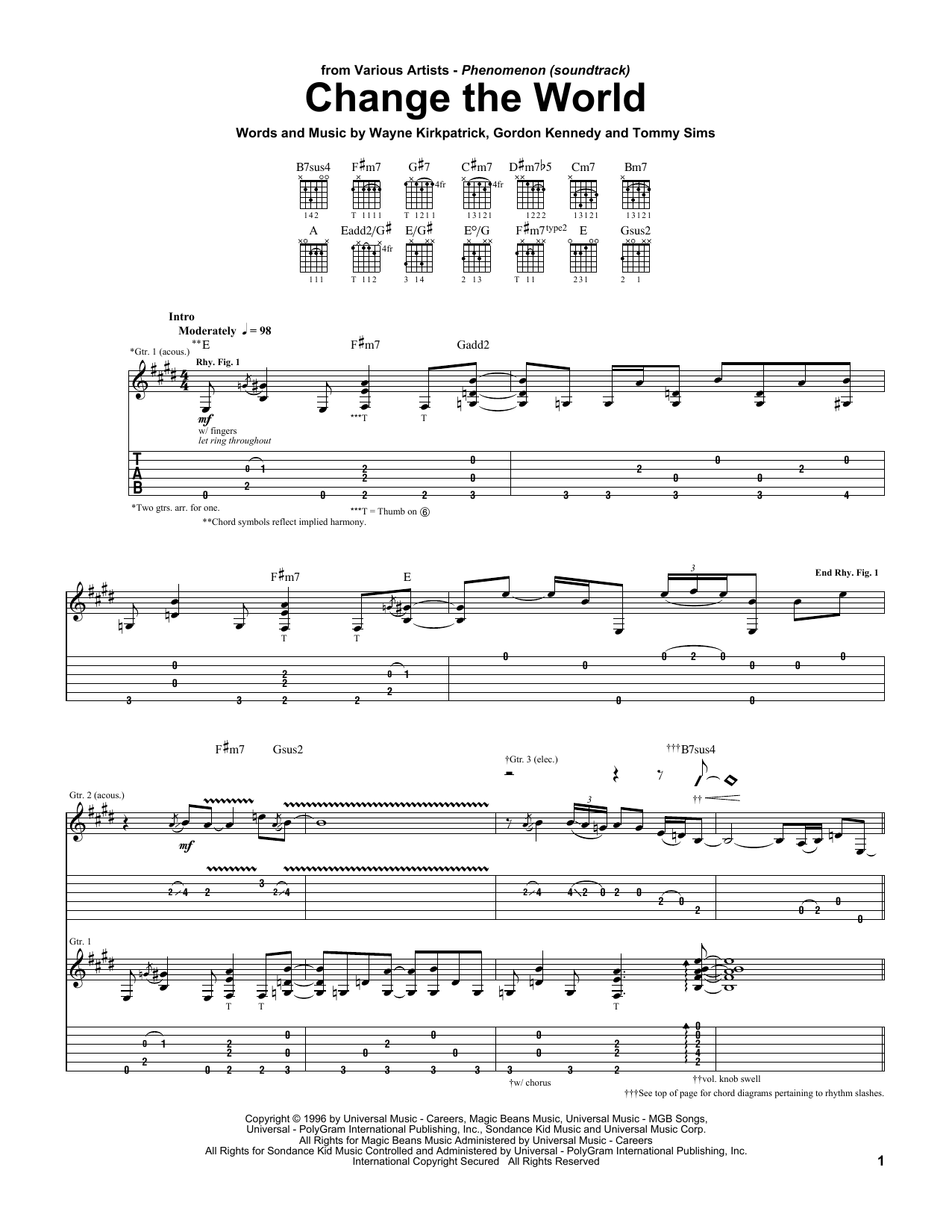 Tablature guitare Change The World de Eric Clapton - Tablature Guitare