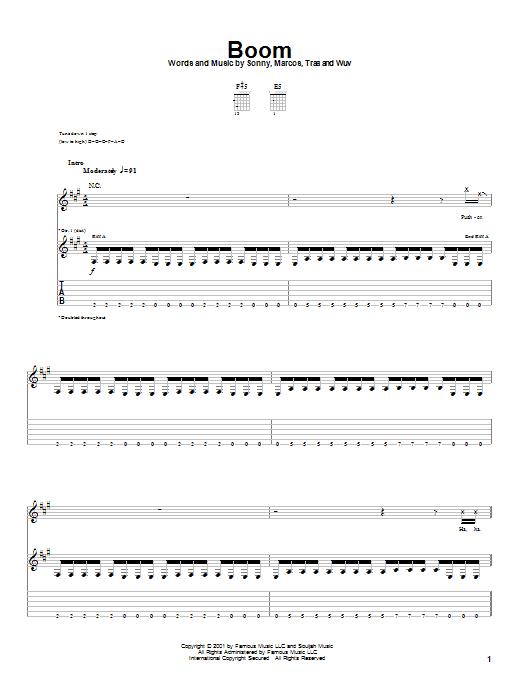 Tablature guitare Boom de P.O.D. (Payable On Death) - Tablature Guitare