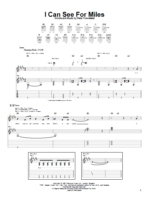Tablature guitare I Can See For Miles de The Who - Tablature Guitare