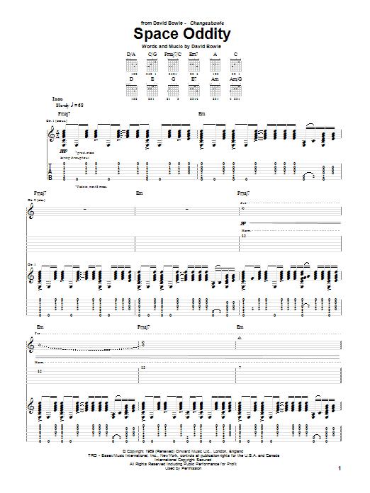 Tablature guitare Space Oddity de David Bowie - Tablature Guitare