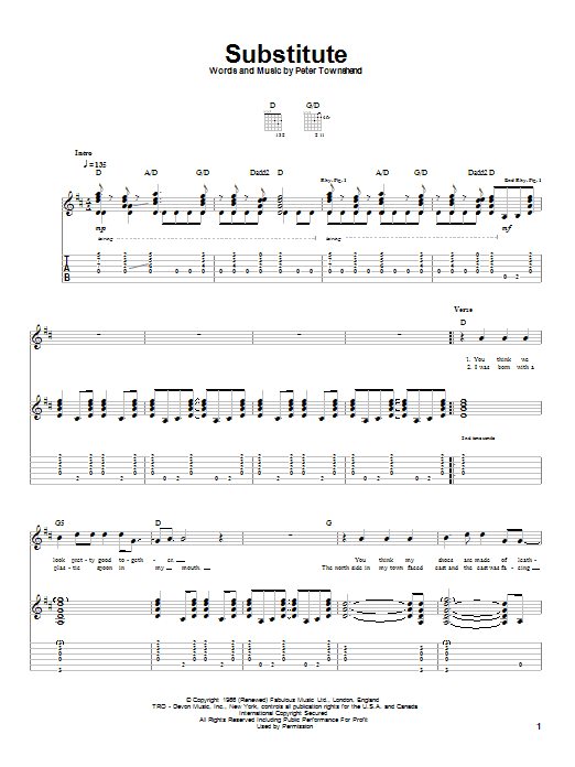 Tablature guitare Substitute de The Who - Tablature Guitare
