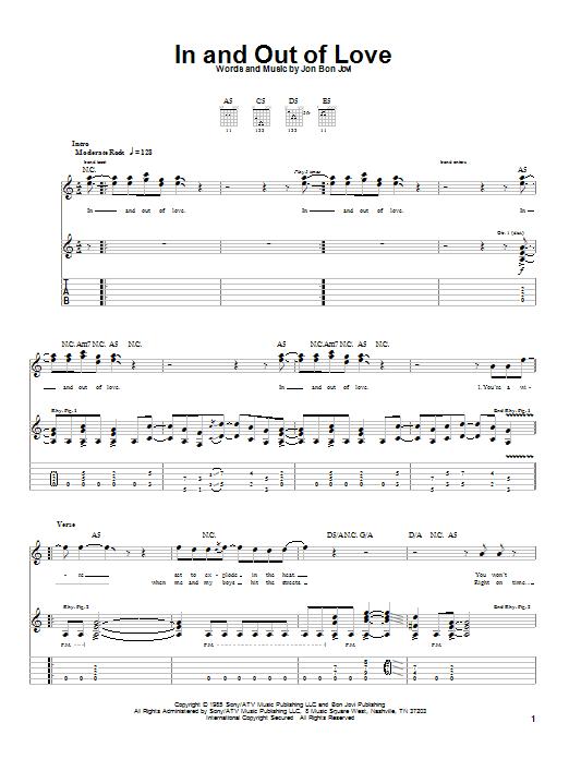 Tablature guitare In And Out Of Love de Bon Jovi - Tablature Guitare