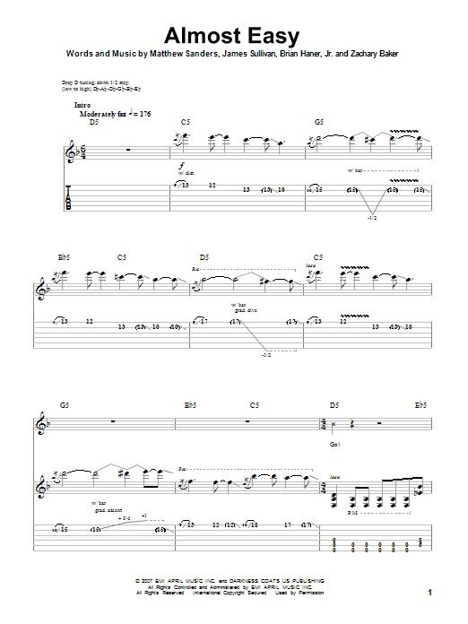 Tablature guitare Almost Easy de Avenged Sevenfold - Tablature Guitare