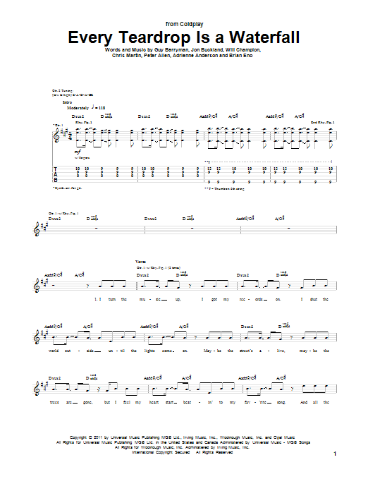 Every Teardrop Is A Waterfall sheet music for guitar solo (tablature) by Will Champion