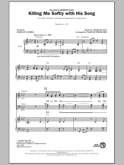 Killing Me Softly With His Song sheet music for choir and piano (SATB) by Charles Fox