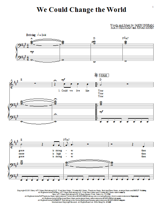 We Could Change The World sheet music for voice, piano or guitar by Jonas Myrin