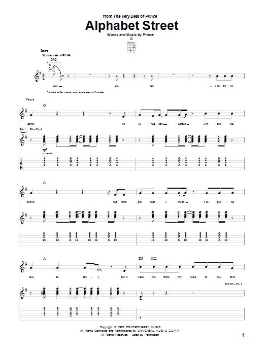 Tablature guitare Alphabet Street de Prince - Tablature Guitare