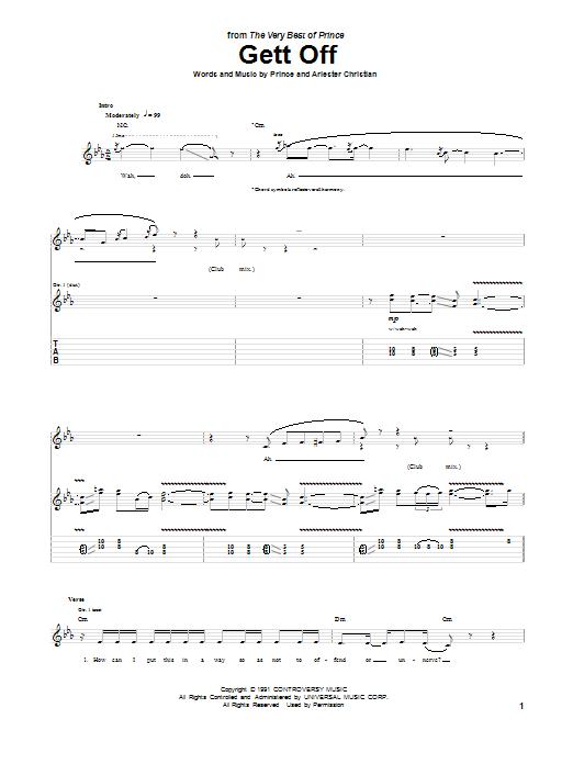 Tablature guitare Gett Off de Prince - Tablature Guitare