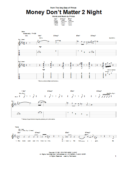 Tablature guitare Money Don't Matter 2 Night de Prince - Tablature Guitare