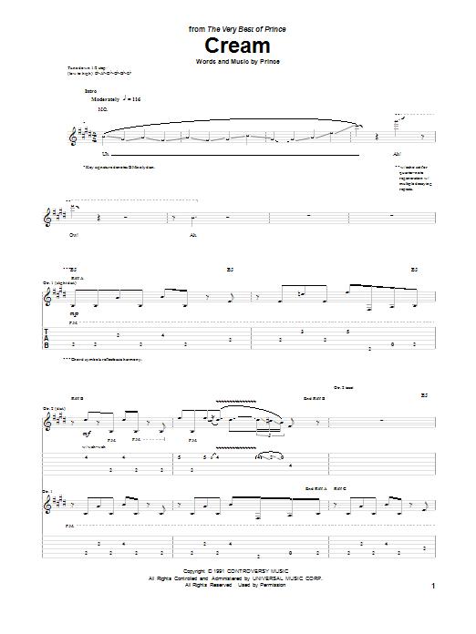 Tablature guitare Cream de Prince - Tablature Guitare