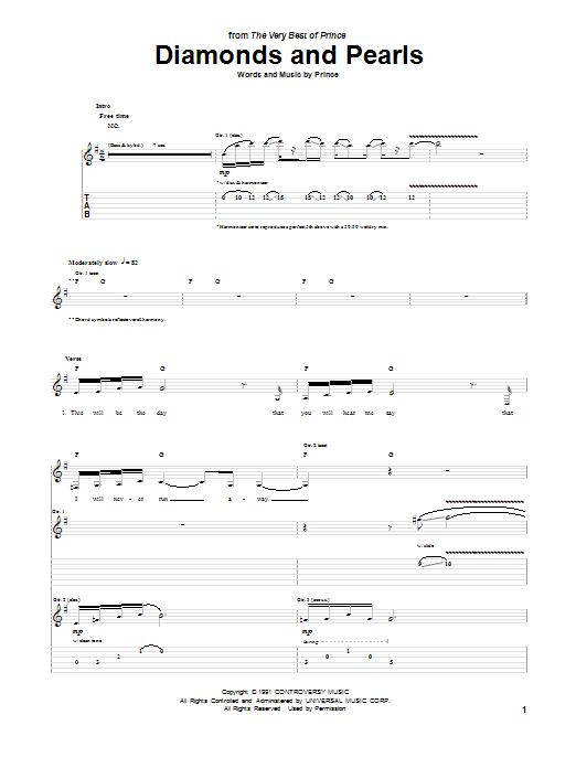 Tablature guitare Diamonds And Pearls de Prince - Tablature Guitare