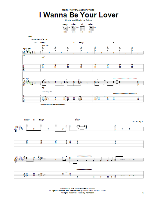 Tablature guitare I Wanna Be Your Lover de Prince - Tablature Guitare
