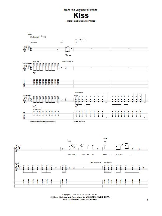 Tablature guitare Kiss de Prince - Tablature Guitare