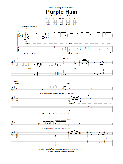 Tablature guitare Purple Rain de Prince - Tablature Guitare