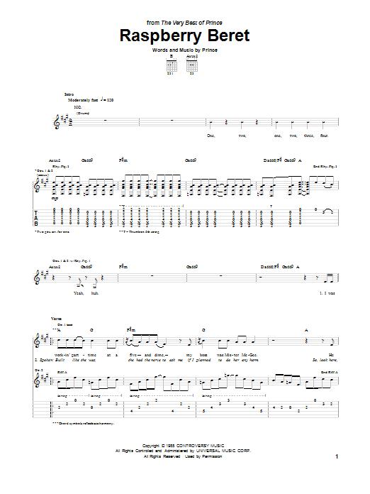 Tablature guitare Raspberry Beret de Prince - Tablature Guitare