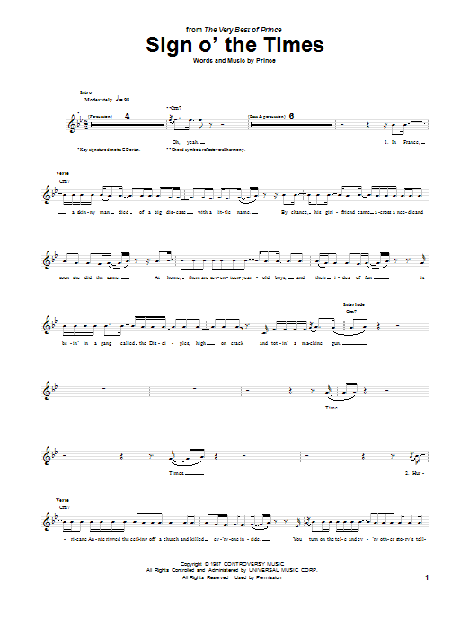 Tablature guitare Sign O' The Times de Prince - Tablature Guitare
