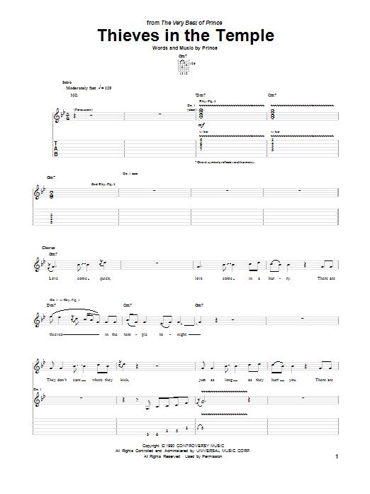 Tablature guitare Thieves In The Temple de Prince - Tablature Guitare