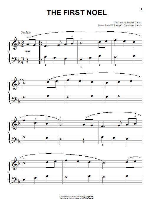 Partition piano The First Noel de 17th Century English Carol - Piano Facile