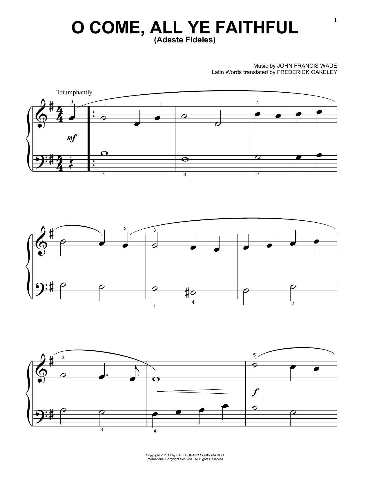 Partition piano O Come, All Ye Faithful (Adeste Fideles) de John Francis Wade - Piano Facile
