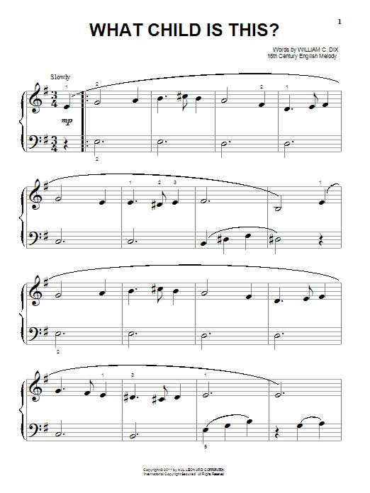Partition piano What Child Is This? de William C. Dix - Piano Facile