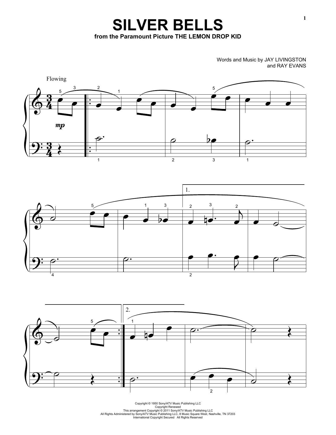 Partition piano Silver Bells de Jay Livingston - Piano Facile