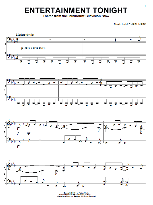 Partition piano Entertainment Tonight de Michael Mark - Piano Solo